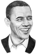 People Drawings Originals - President Barack Obama by Murphy Elliott