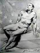 Barack Obama Drawings Prints - President Barack Obama Nude Study Print by Karine Percheron-Daniels