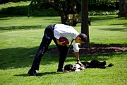 President Barack Obama Pets The Family Print by Everett