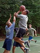 T-shirt Framed Prints - President Barack Obama Plays Basketball Framed Print by Everett