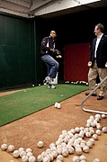 All-star Game Art - President Barack Obama Practices by Everett