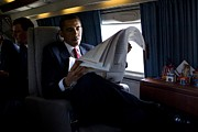 Barack Obama Photo Framed Prints - President Barack Obama Reading Framed Print by Everett