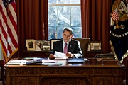 West Wing Prints - President Barack Obama Reviews Print by Everett
