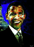 United States Paintings - President Barack Obama by Romy Galicia