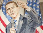 Barack Obama Painting Posters - President Barack Obama speaking Poster by Andrew Bowers