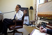 West Wing Prints - President Barack Obama Takes A Phone Print by Everett