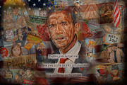 Barack Obama Oil Paintings - President Barack Obama. Walking In My Shoes. by Alex Krasky
