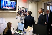Microphones Prints - President Barack Obama Watches Msnbc Print by Everett