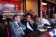 Baseball Game Framed Prints - President Barack Obama Watches The 2009 Framed Print by Everett