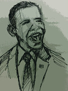 President Obama Mixed Media Prints - President Barack Obama Print by William Winkfield