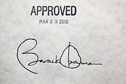 Legislation Prints - President Barack Obamas Signature Print by Everett