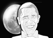 Barrack Obama Metal Prints - President  Barrack Obama Metal Print by Belinda Threeths