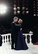 Dancing Couples Posters - President Bill Clinton And Hillary Poster by Everett