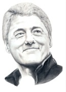 Bill Clinton Drawings Prints - President Bill Clinton Print by Murphy Elliott