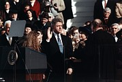 Hillary Framed Prints - President Bill Clinton Takes The Oath Framed Print by Everett