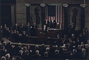 George Herbert Walker Prints - President Bush Addresses A Joint Print by Everett