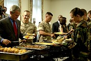 George Bush Prints - President Bush And Soldiers Fill Print by Everett