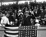 Washington Dc Baseball Art - President Calvin Coolidge Pitches by Everett