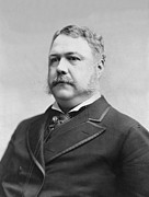Us Presidents Framed Prints - President Chester Arthur - c 1882 Framed Print by International  Images