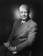 Presidential Portrait Framed Prints - President Dwight Eisenhower Framed Print by War Is Hell Store