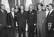 African Americans Prints - President Eisenhower Meets With African Print by Everett