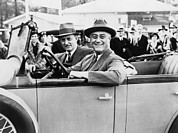 F.d.r. Prints - President Franklin D. Roosevelt Driving Print by Everett