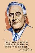 Franklin Mixed Media Metal Prints - President Franklin Roosevelt and Quote Metal Print by War Is Hell Store