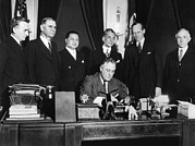 Featured Art - President Franklin Roosevelt Signs Bill by Everett