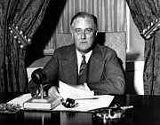 Franklin Delano Roosevelt Prints - President Franklin Roosevelt Print by War Is Hell Store