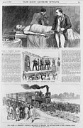 Coffins Framed Prints - President Garfield Was Shot Framed Print by Everett