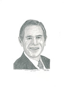 Leader Drawings Posters - President Geo. Bush Poster by Bob Garrison