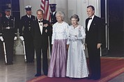 Uniforms Metal Prints - President George And Barbara Bush Stand Metal Print by Everett