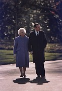 George Herbert Walker Framed Prints - President George And Barbara Bush Take Framed Print by Everett
