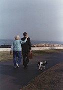 Backs Prints - President George And Barbara Bush Walk Print by Everett