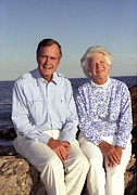 First Ladies Framed Prints - President George Bush And Wife Barbara Framed Print by Everett