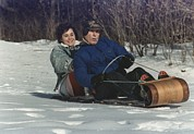 George Herbert Walker Prints - President George Bush Goes Sledding Print by Everett