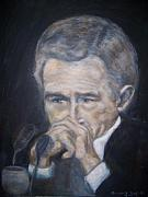 George Bush Drawings Posters - President  George Bush Poster by Suzanne Reynolds