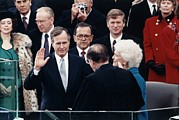 First Lady Photo Framed Prints - President George Herbert Walker Bush Framed Print by Everett