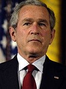 D.w. Prints - President George W. Bush In Tears Print by Everett