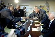 Group Portraits Framed Prints - President George W. Bush Shakes Hands Framed Print by Everett