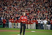 Baseball Games Prints - President George W. Bush Throws Print by Everett