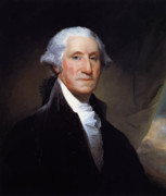 Father Painting Framed Prints - President George Washington Framed Print by War Is Hell Store