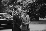 Candid Group Portraits Posters - President Gerald Ford And Sec. Of State Poster by Everett
