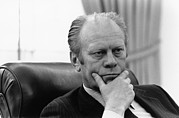 Gestures Photo Framed Prints - President Gerald Ford Listening Framed Print by Everett