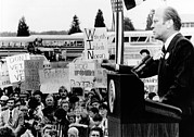 Mid-term Elections Framed Prints - President Gerald Ford Speaks To A Crowd Framed Print by Everett