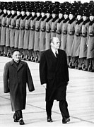Chinese-americans Posters - President Gerald Ford Walks With Chinas Poster by Everett