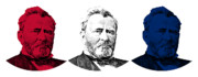 Us Presidents Framed Prints - President Grant Red White and Blue Framed Print by War Is Hell Store