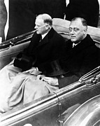Franklin Delano Roosevelt Prints - President Hoover and President Elect Franklin Delano Roosevelt - c 1933 Print by International  Images