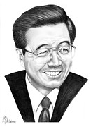 People Drawings Originals - President Hu Jintao by Murphy Elliott