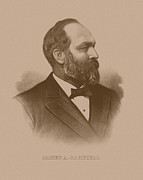 Us Presidents Mixed Media Prints - President James Garfield Print by War Is Hell Store